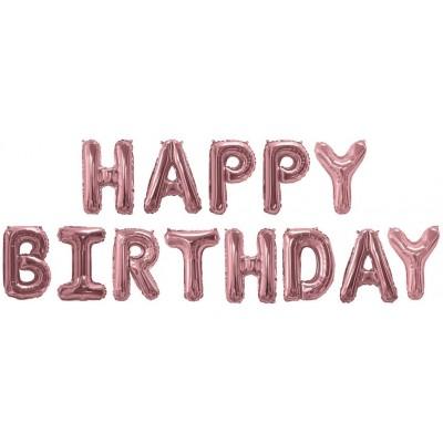 """Фольгированный шар-фигура мини-надпись """"Happy Birthday"""" розовое золото (41 см)"""