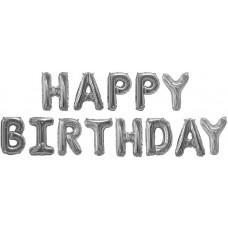 "Фольгированный шар-фигура мини-надпись ""Happy Birthday"" серебро (41 см)"