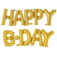 """Фольгированный шар-фигура мини-надпись """"Happy B-Day"""" золото (36 см)"""