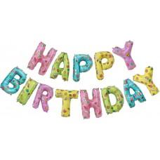 """Фольгированный шар-фигура мини-надпись """"Happy Birthday"""" веселые картинки (36 см)"""