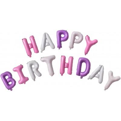 """Фольгированный шар-фигура мини-надпись """"Happy Birthday"""" для девочки (41 см)"""