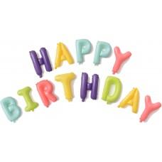 """Фольгированный шар-фигура мини-надпись """"Happy Birthday"""" макарунс ассорти (41 см)"""