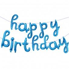 """Фольгированный шар-фигура мини-надпись """"Happy Birthday"""" (изящный курсив) голубой (43 см)"""