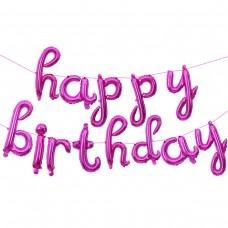 """Фольгированный шар-фигура мини-надпись """"Happy Birthday"""" (изящный курсив) розовый (43 см)"""