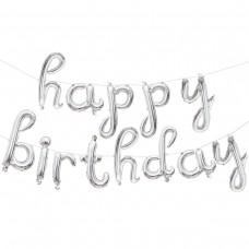 """Фольгированный шар-фигура мини-надпись """"Happy Birthday"""" (изящный курсив) серебро (43 см)"""
