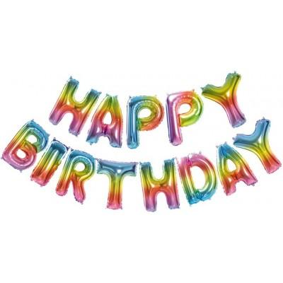 """Фольгированный шар-фигура мини-надпись """"Happy Birthday"""" радужный градиент (36 см)"""