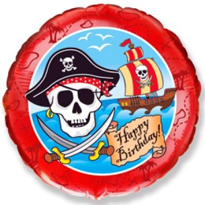 Фольгированный воздушный шар-круг С Днем Рождения (пират) красный (46 см)