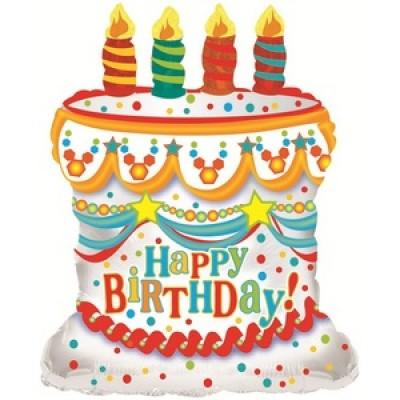 Фольгированный воздушный шар-фигура С Днем рождения (торт) белый (71 см)