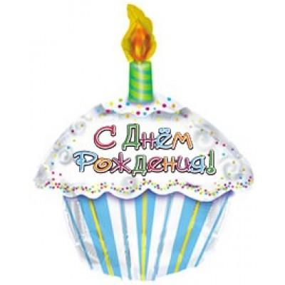 Фольгированный воздушный шар-фигура С Днем рождения (тортик) на русском языке  (56 см)