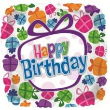 Фольгированный воздушный шар-квадрат С Днем рождения (танцующие подарки) белый (46 см)