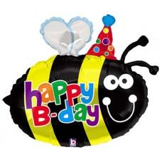 Фольгированный воздушный шар-фигура Пчелка с Днем Рождения (69 см)