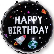 Фольгированный воздушный шар-круг С Днем Рождения (космос) черный (46 см)