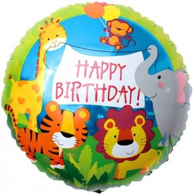 Фольгированный воздушный шар-круг С Днем Рождения! (джунгли) зеленый (46 см)