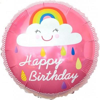 Фольгированный воздушный шар-круг С Днем Рождения! (облако и радуга) розовый (46 см)