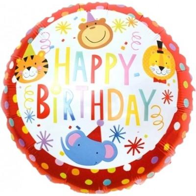 Фольгированный воздушный шар-круг С Днем Рождения! (цирк) красный (46 см)