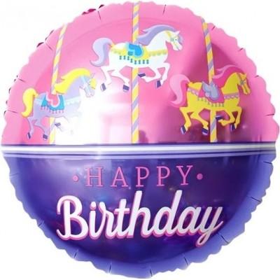 Фольгированный воздушный шар-круг С Днем Рождения (карусель) розовый (46 см)