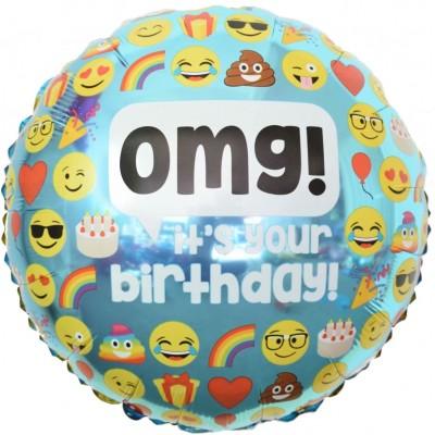 Фольгированный воздушный шар-круг Твой День Рождения! (смайлы) голубой (46 см)