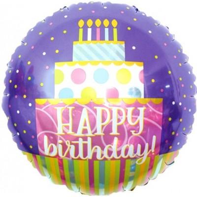 Фольгированный воздушный шар-круг С Днем Рождения! (торт) сиреневый (46 см)