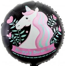 Фольгированный воздушный шар-круг С Днем Рождения (единорог) черный (46 см)