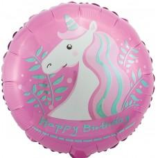 Фольгированный воздушный шар-круг С Днем Рождения (единорог) розовый (46 см)