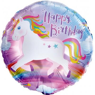 Фольгированный воздушный шар-круг С Днем Рождения! (единорог) (46 см)