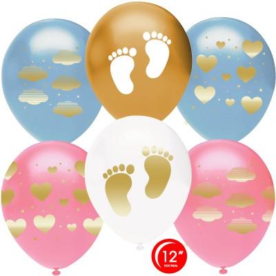 Воздушный шар Новорожденный (сердца и облака) ассорти металлик (30 см)