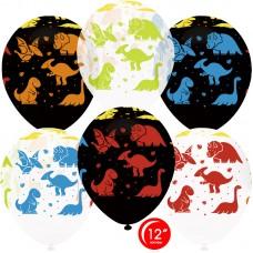 Воздушный шар Яркие динозаврики ассорти пастель (30 см)