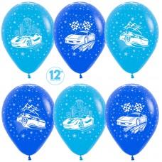 Воздушный шар Машины синий-голубой пастель (30 см)