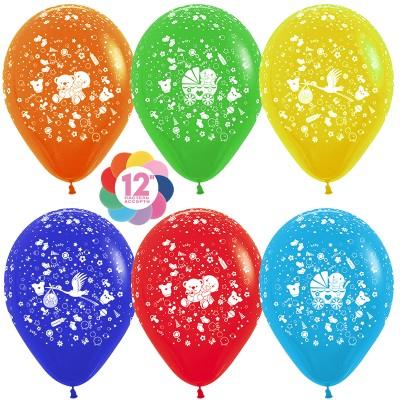 Воздушный шар С Новорожденным! ассорти пастель (30 см)