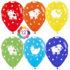 Воздушный шар Веселая ферма ассорти пастель (30 см)