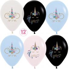 Воздушный шар Сказочные единороги ассорти пастель (30 см)
