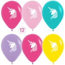 Воздушный шар Единорог ассорти пастель (30 см)