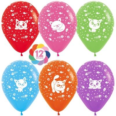 Воздушный шар Кошки ассорти пастель (30 см)