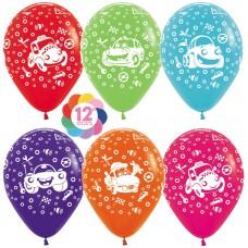 Воздушный шар Тачки ассорти пастель (30 см)