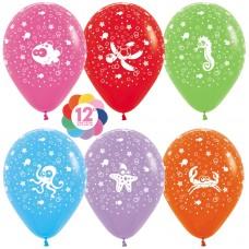 Воздушный шар Подводный мир ассорти пастель (30 см)