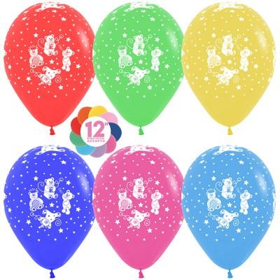 Воздушный шар Забавные мишки ассорти пастель (30 см)