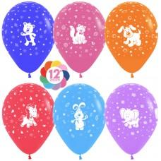 Воздушный шар Веселые животные ассорти пастель (30 см)