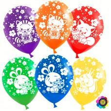 Воздушный шар Зверята и подарки ассорти пастель (30 см)