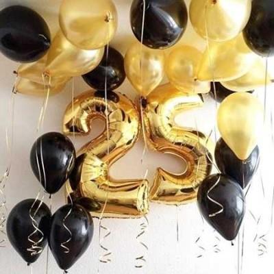 Композиция Набор чёрно-золотых шаров с цифрами
