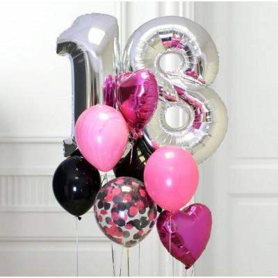 Композиция Фонтан из шаров на день рождения с цифрами