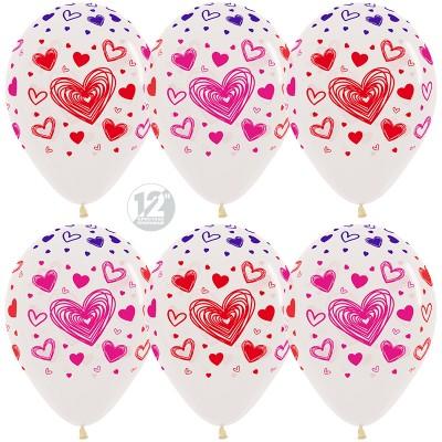 Воздушный шар Разноцветные сердца прозрачный кристалл (30 см)