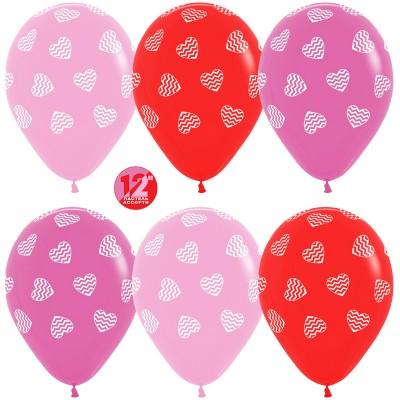Воздушный шар Полосатые сердца ассорти пастель (30 см)