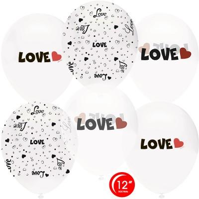 Воздушный шар Любовь белый-прозрачный кристалл (30 см)
