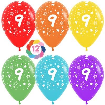 Воздушный шар Цифра 9 (звезды) ассорти пастель (30 см)