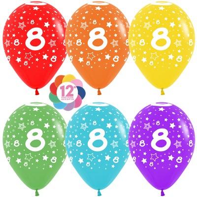 Воздушный шар Цифра 8 (звезды) ассорти пастель (30 см)