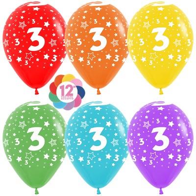 Воздушный шар Цифра 3 (звезды) ассорти пастель (30 см)