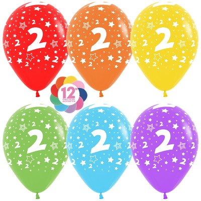 Воздушный шар Цифра 2 (звезды) ассорти пастель (30 см)