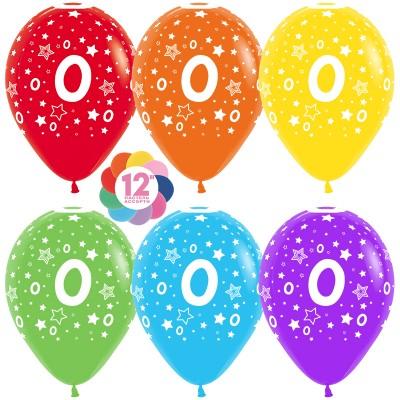 Воздушный шар Цифра 0 (звезды) ассорти пастель (30 см)