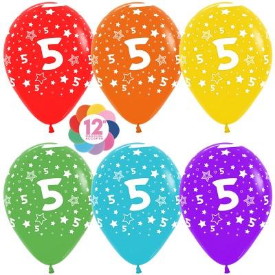 Воздушный шар Цифра 5 (звезды) ассорти пастель (30 см)