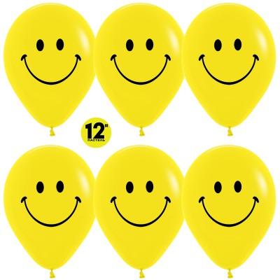Воздушный шар Смайл №2 желтый пастель (30 см)
